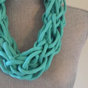 Turquoise handmade arm knit infinity scarf